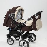 Carucior copii 3 in 1 Baby-Merc Junior Plus (maro cu bej), Pliabil, Gri, Maner reversibil