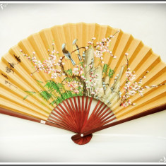 Arta din Asia - EVANTAI CHINEZESC DE PERETE - FENG SHUI, MARE ȘI VECHI, BAMBUS ȘI CARTON PICTAT!