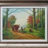 Tablou, Peisaje, Ulei, Altul - La strans lemne in padure - semnat J.Toth 1921