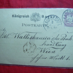 Carte Postala cu marca fixa 5 pf.violet 1882 Bavaria, Circulata, Printata