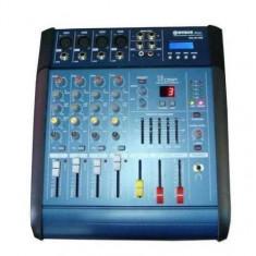 Mixer audio cu amplificare WG-4D USB cu putere de 2 x 100 W, 4 canale