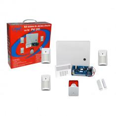 Resigilat - Kit sistem de alarma cu fir PNI 205 cu 3 senzori 1 contact magnetic si sirena - Senzori miscare