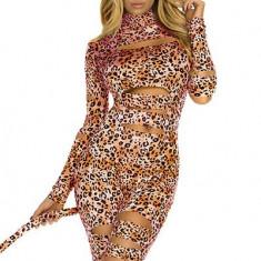 X323-99 Salopeta cu model animal print si decupaje - Costum Halloween, Marime: S/M