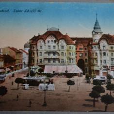 ORADEA (Nagyvarad) - Piata Sfantul Laszlo (Szent Laszlo ter) - 1918 - tramvai - Carte Postala Crisana 1904-1918, Necirculata, Fotografie