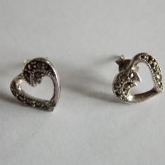 Cercei de argint cu marcasite -inimioare - Cercei argint