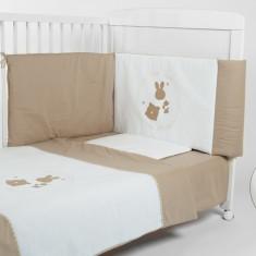 BebeDeco-Lenjerie 3 piese Somn Usor alb-bej - Lenjerie pat copii