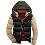 Geaca slim de iarna pentru barbati cu gluga detasabila model 2016