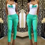 Set pantalon+bustiera turqoise - Pantaloni dama, Marime: XS, Culoare: Turcoaz