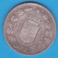 (1) MONEDA DIN ARGINT ITALIA - 1 LIRA 1887 M, UMBERTO I, NECURATATA, Europa