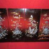 Tablou Japonez din lemn lucrat manual cu sidef si pictura NR 3 - Reproducere