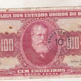 Bnk bn Brazilia 100 cruzeiros ( 1963 ) uzata - bancnota america
