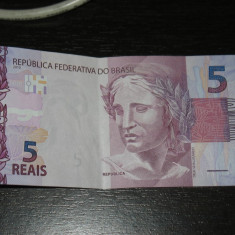 Bancnota 5 reali Brazilia 2013, seria a doua - bancnota america