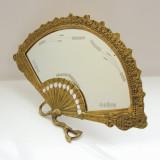 VECHE OGLINDA CU RAMA DIN BRONZ IN FORMA DE EVANTAI - Metal/Fonta, Ornamentale