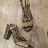 LICHIDARE STOC! Sandale dama NOI piele manusa vintage toc comod Sz 37 !, Culoare: Cappuccino, Piele naturala