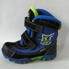Ghete/ cizme impermeabile, imblanite, Super Gear, negru cu albastru si verde - Ghete copii, Marime: 22, 23, 24, 25, 26, 27, Baieti, Textil