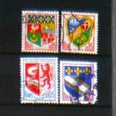 Lot 4 timbre uzate EMBLEME HERALDICA Franta 2+1 gratis RBK20183