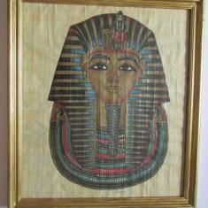 TABLOU-FARAON-arta egipteana-pictura pe papirus, vintage - Arta din Africa