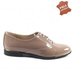 Pantofi dama piele naturala LOLA tabac lac (Marime: 35) - Pantof dama