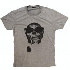 Tricou Pirat Skull - Tricou barbati, Marime: M, L, XL, Culoare: Gri, Maneca scurta, Bumbac