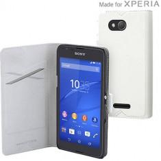 Husa Flip Cover Muvit 107095 Agenda alba pentru Sony Xperia E4g - Husa Telefon