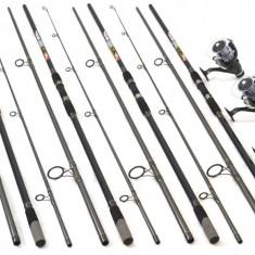 Set de 4 lansete Crap 3, 9m cu 4 mulinete DMR60 tambur longcast si 5 rulm - Lanseta, 3.6 m