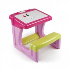 Birou bancuta cu accesorii Roz Smoby - Masuta/scaun copii