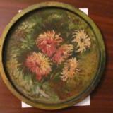 GE - Tava veche mare si foarte frumoasa pictata manual / cu patina timpului - Metal/Fonta