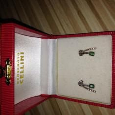 Cercei AUR 18K cu DIAMANTE si SMARALDE - Cercei cu diamante