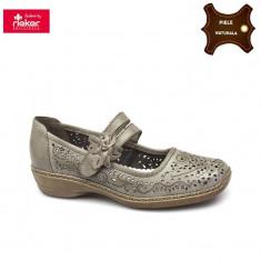 Pantofi dama piele naturala RIEKER bej (Marime: 38) - Pantof dama