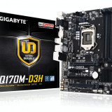 Placa video Gigabyte Gigabyte GA-Q170M-D3H, Q170, DualDDR4-2133, SATA3, SATAe, M.2, HDMI, DVI, mATX - Placa de Baza