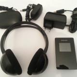Mp3 player Philips GoGear 30GB HDD6330 + casti wireless fara fir Philips SHC1300, Negru, Display