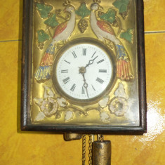 Superb ceas antic perfect functional in stilul Biedermayer cu 2 greutati - Pendula