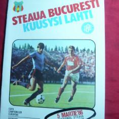 Program Meci Fotbal Steaua- Kuusysi Lahti 1986