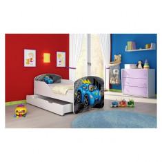 Pat Junior 160 x 80 cm cu saltea si sertar Blue Car On The Road Acma - Patut lemn pentru bebelusi