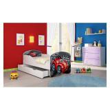 Pat Junior 160 x 80 cm cu saltea si sertar Red Car On The Road Acma - Patut lemn pentru bebelusi